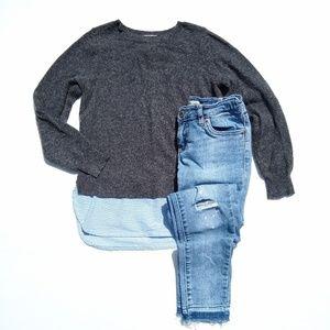Crewcuts shirt tail sweater & Levi's skinny jeans